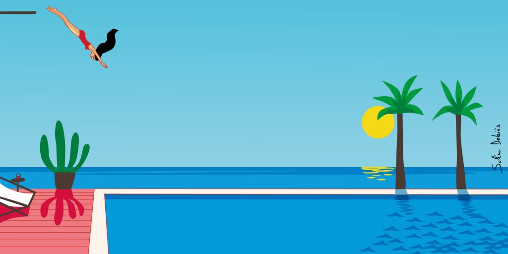 femme plonge piscine paysage