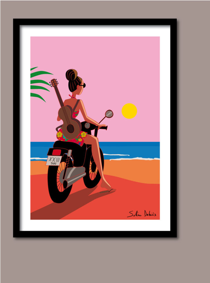 poster femme moto