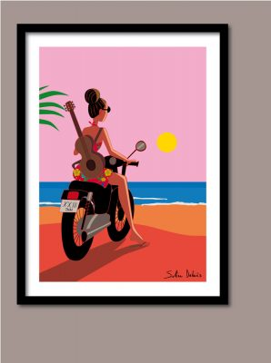 poster woman motorbike