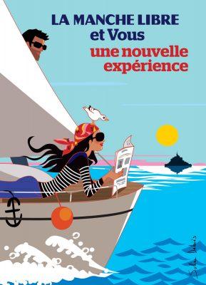 affiche femme bateau mer Normandie