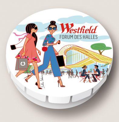 Illustration d'une boite à bonbons pour Westfield Forum des Halles