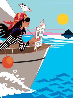 affiche bateau femme mer Normandie