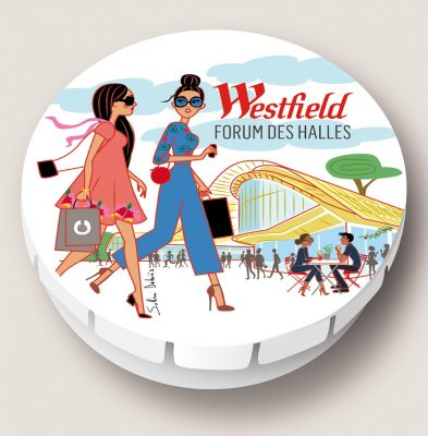 Illustration of a candy box for Westfield Forum des Halles