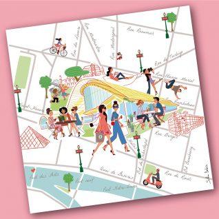 Illustration of a tourist map for Westfield Forum des Halles