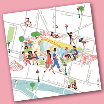 Illustrated city map for Westfield Paris