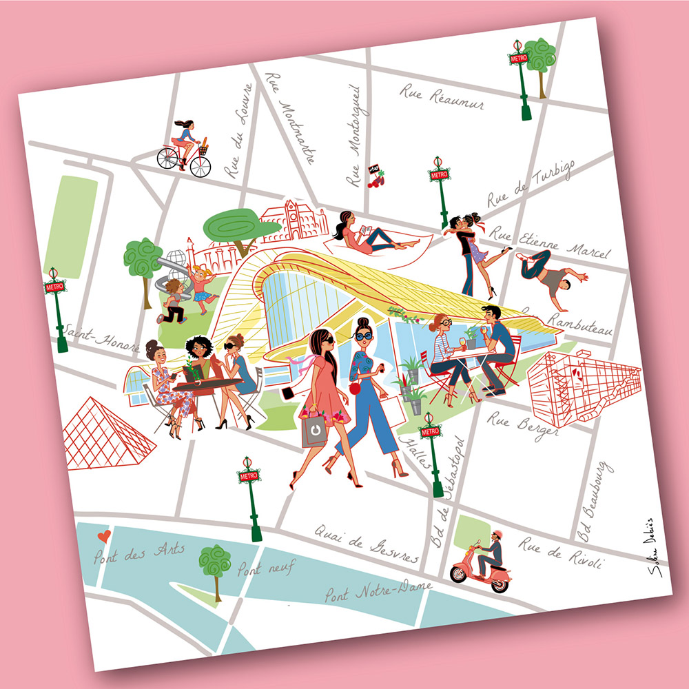 Illustration of a tourist map for Westfield Forum des Halles
