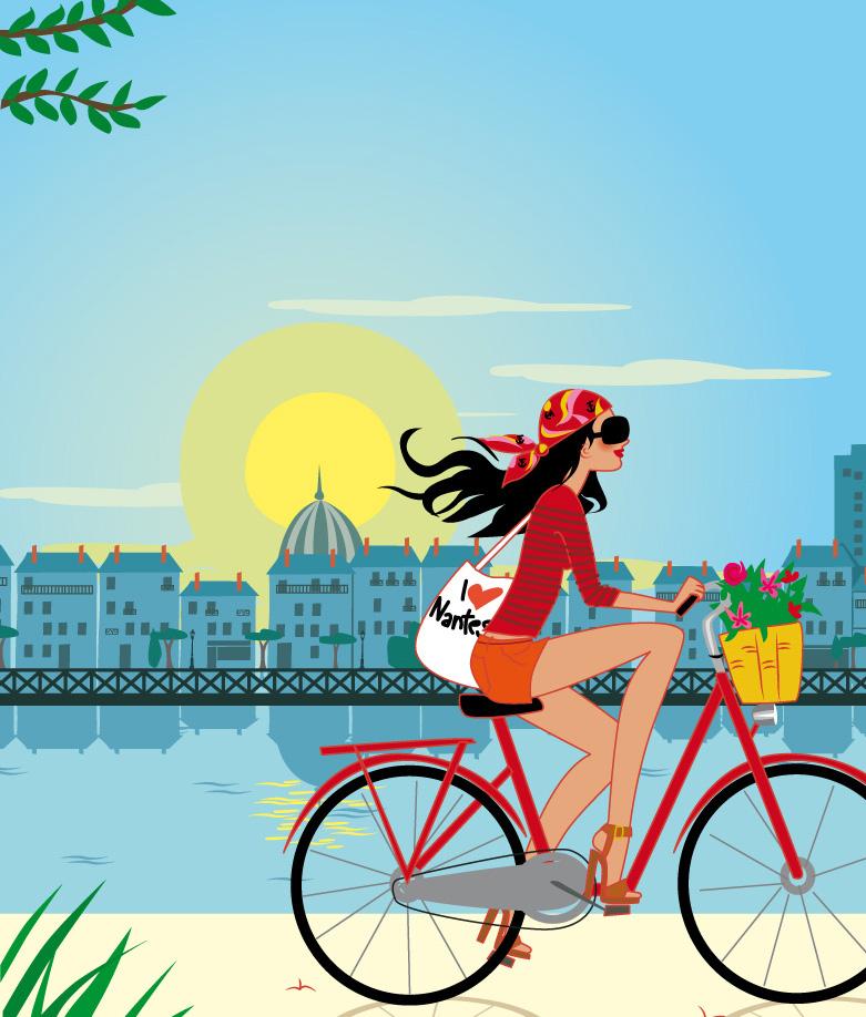 femme faisant du vélo à Nantes sur les bords de la Loire