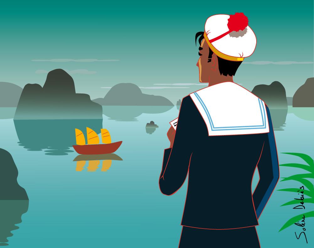 marin dans la baie d'along au Vietnam
