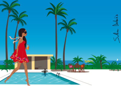 femme piscine vacances