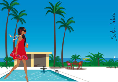 femme piscine paysage tropical lifestyle