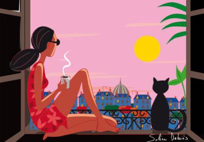 femme coucher soleil toits paris chat
