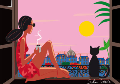 Personnage féminin chat Paris soleil
