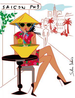 femme Vietnam pho terrasse