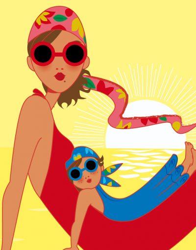 affiche graphique de mère et sa fille sur la plage