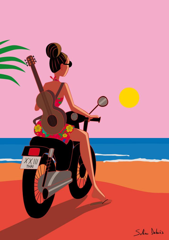 affiche graphique de femme sur une moto dans une île tropicale