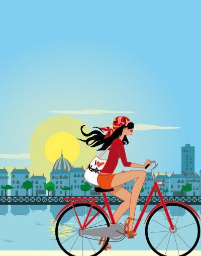 affiche graphique de femme sur un vélo à nantes