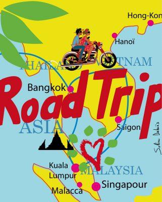 carte itinéraire voyage illustré