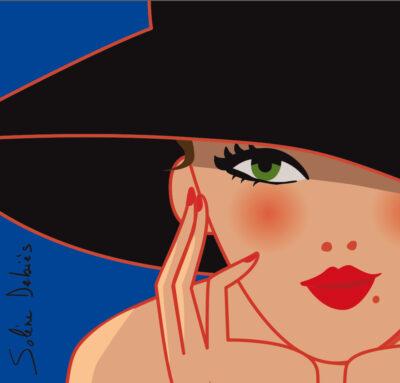 visage femme chapeau