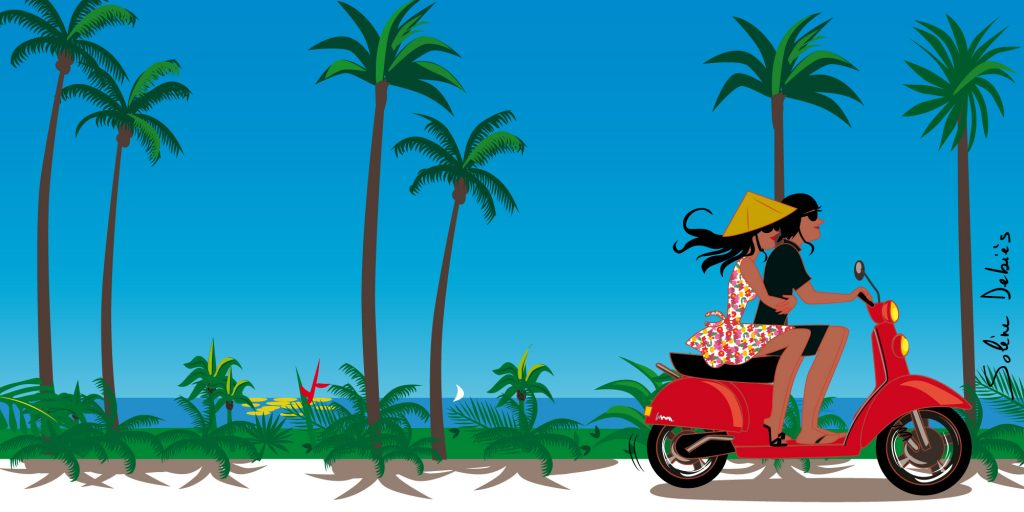 a couple in holidays on a scooter in a tropical island