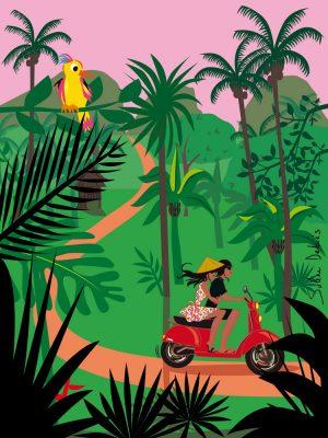 illustration vacances voyage jungle couple