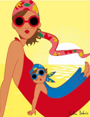 mère enfant plage soleil