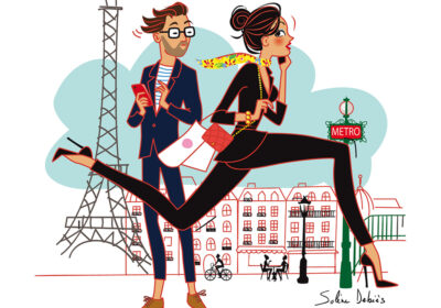 2 running parisians and the eiffel tower to illustrate the Paris portfolio
