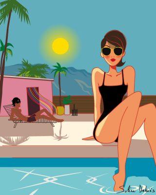 femme piscine luxe