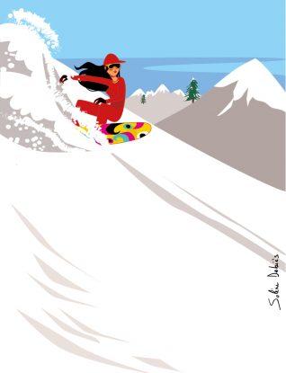 skieuse dans la montagne avec ski et neige