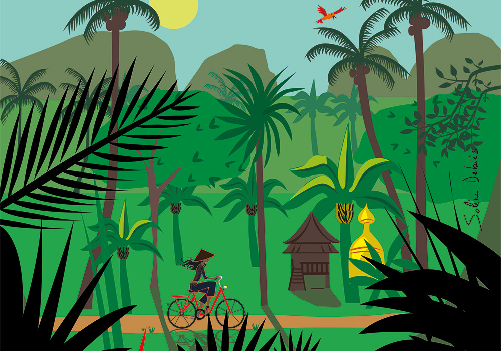 a woman is biking in an asian jungle, to illustrate the travel portfolio