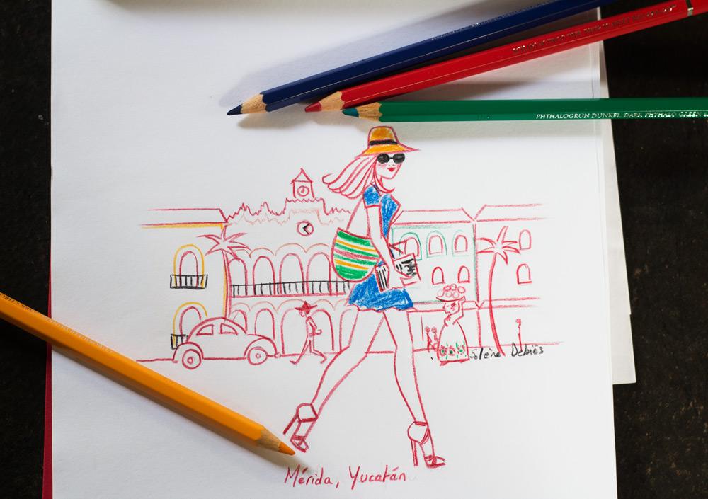 travel sketch woman