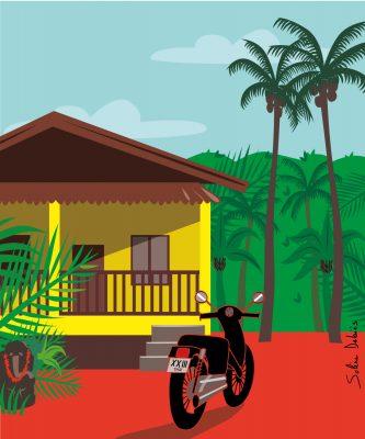 travel illustration house Thailand