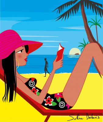 woman read book beach