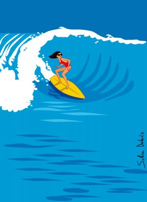 surf wave woman