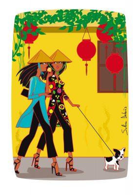 Vietnam girls Hoi An Illustration