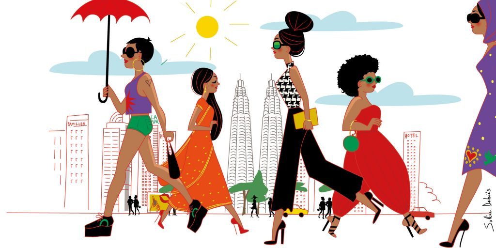 women of the word, different ethnicities in the big city of Kuala Lumpur, Malaysia