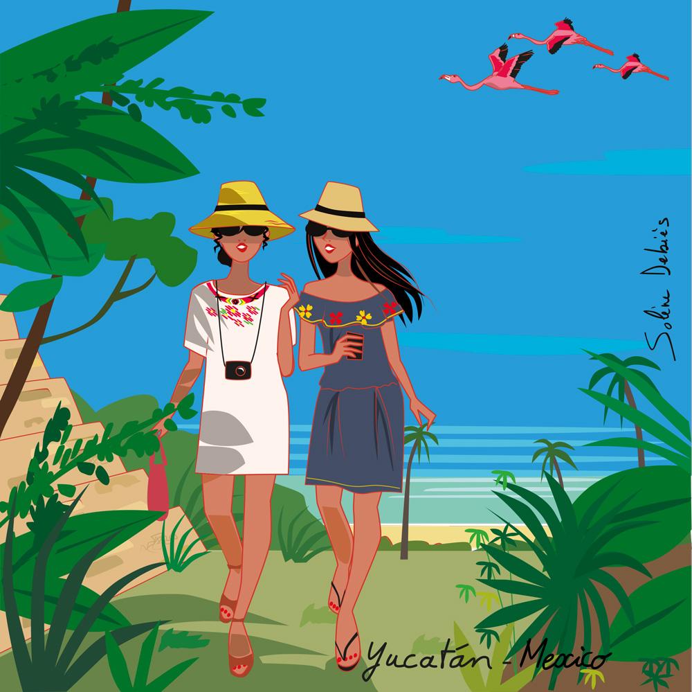 traveling women illustration