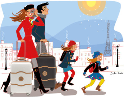 travel family luggage Paris