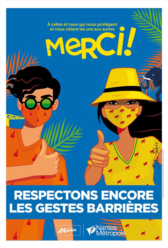 illustratrice Nantes affiche Merci Covid