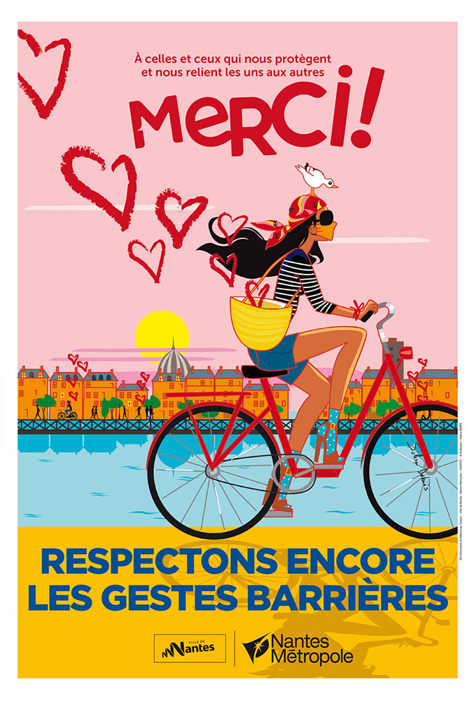Nantes affiche vélo covid illustratrice