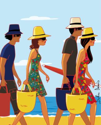 vacances plage couple chapeaux mer