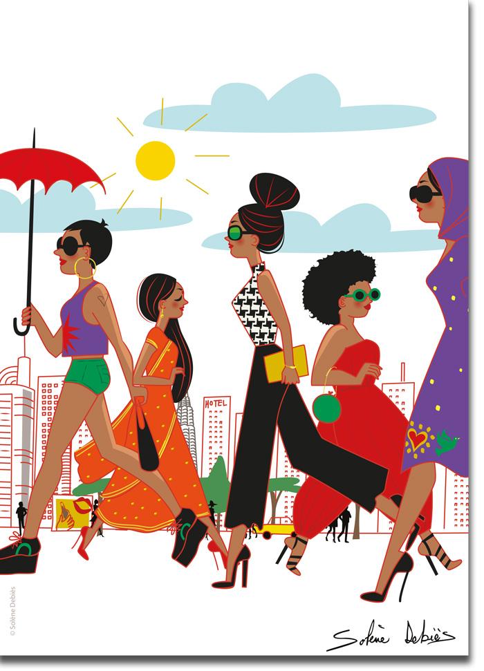 poster femmes villes couleurs