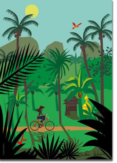 poster vélo paysage Thaïlande