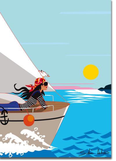 poster bateau femme mer voilier