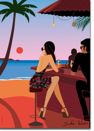 poster coucher soleil plage couple bar