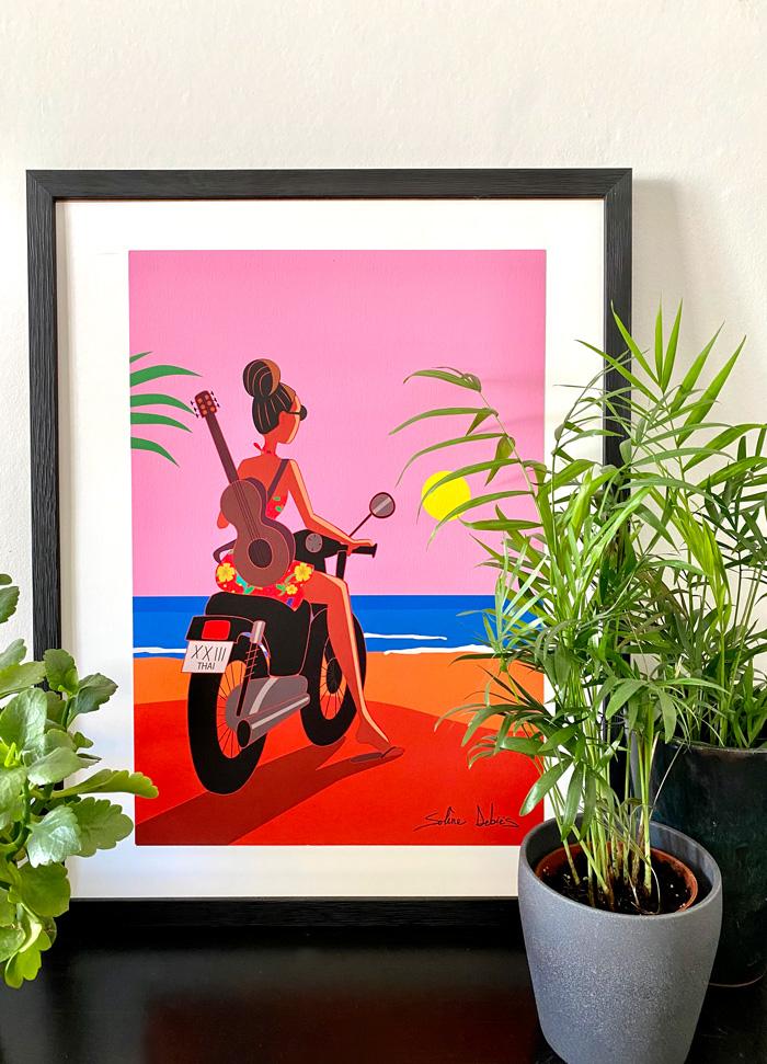 fille moto mer soleil déco