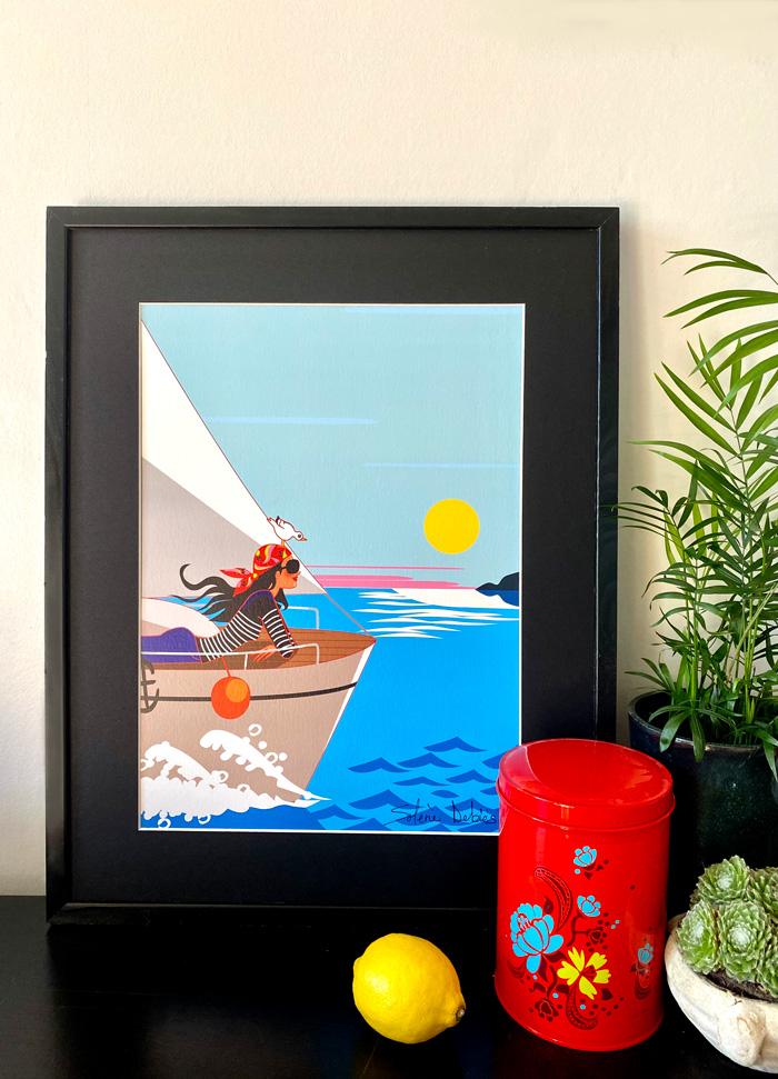 affiche voilier femme mer