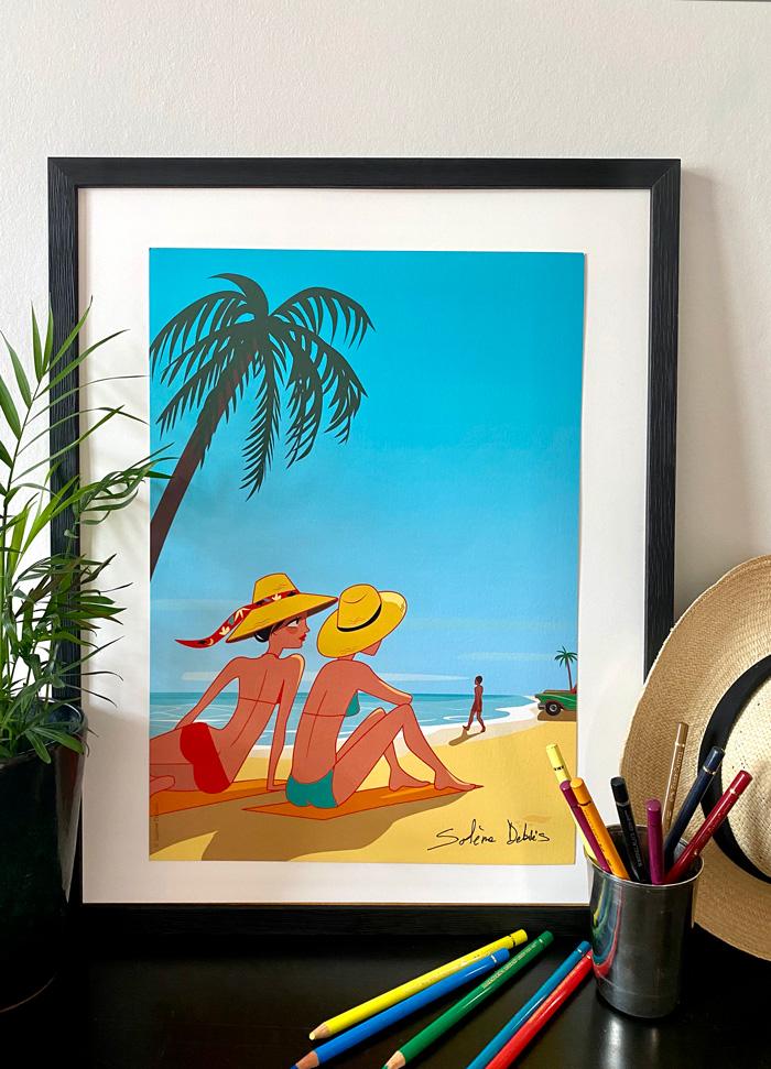 affiche vacances plage femmes cuba