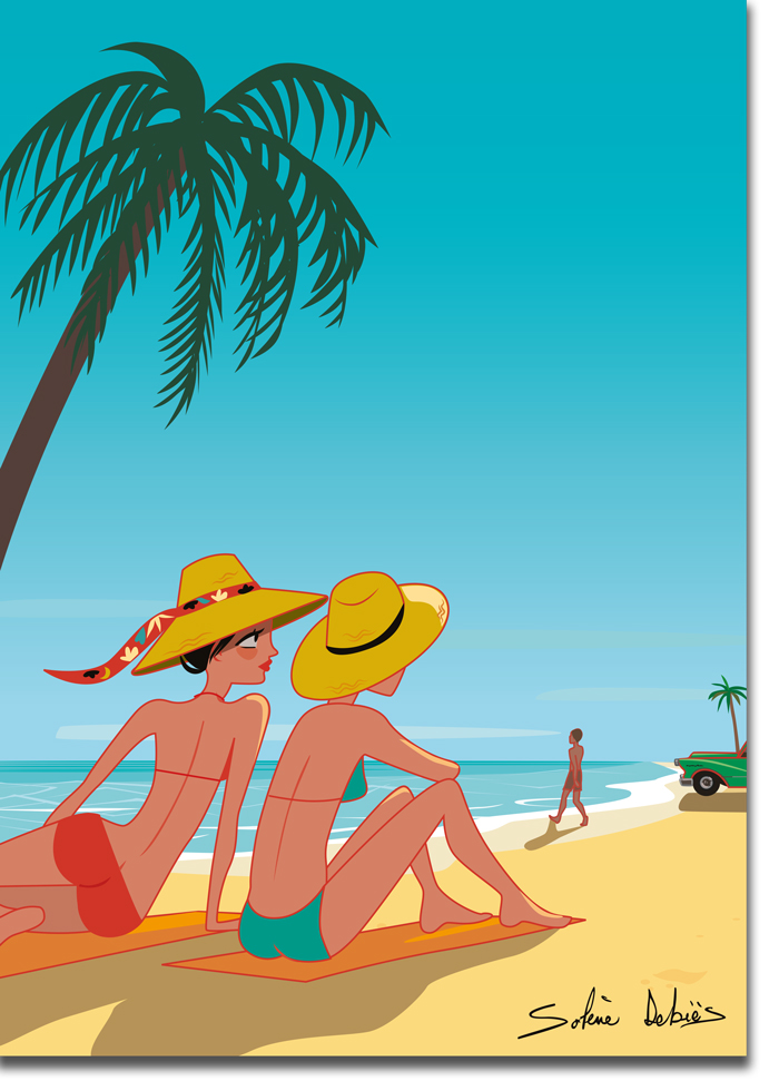 affiche plage femme Cuba