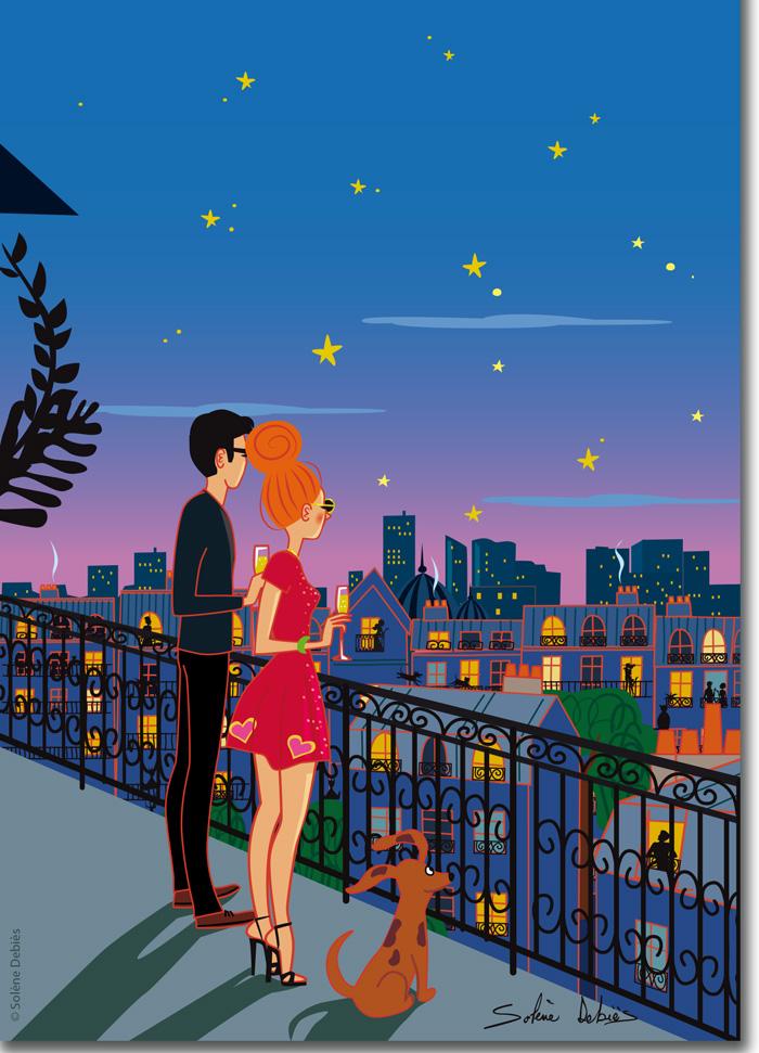 poster amour couple ville Paris