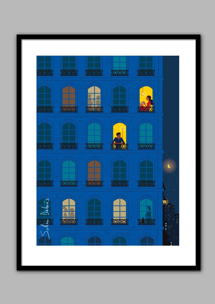 affiche confinement Paris la nuit